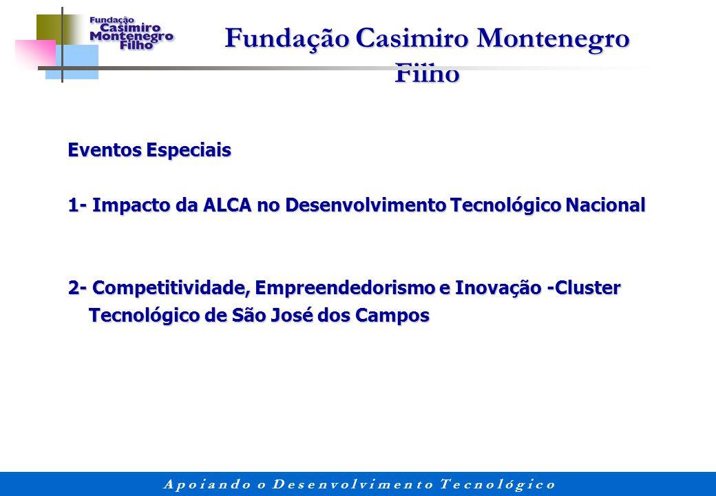 Eventos Especiais 1- Impacto da ALCA no Desenvolvimento Tecnológico Nacional. 2- Competitividade, Empreendedorismo e Inovação -Cluster.