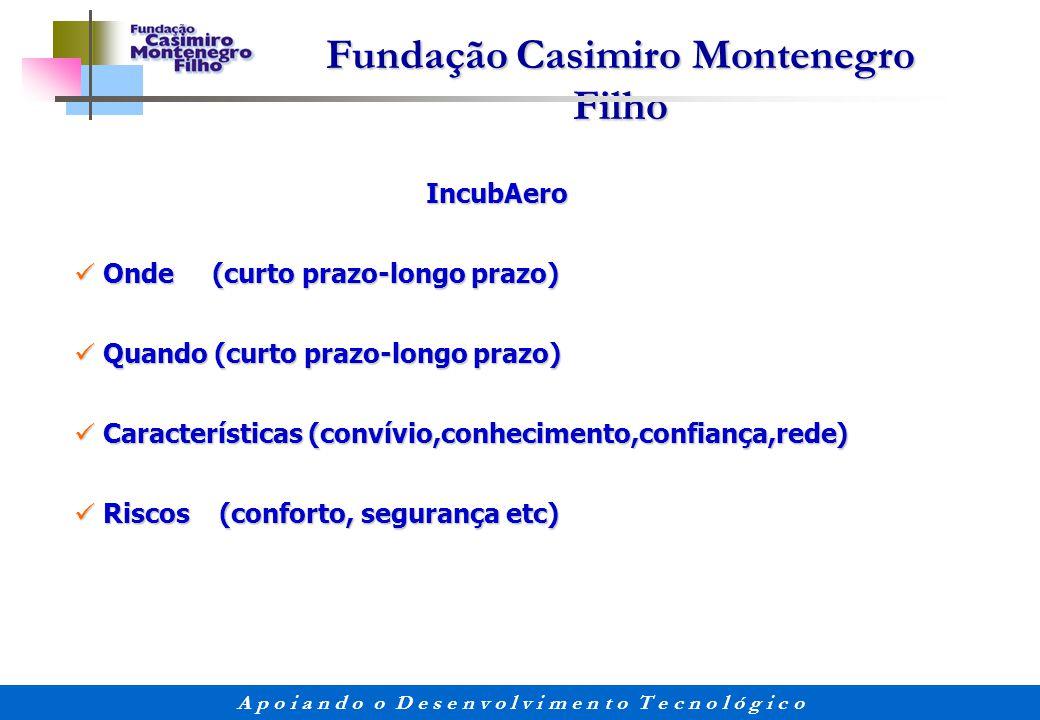 IncubAero Onde (curto prazo-longo prazo) Quando (curto prazo-longo prazo) Características (convívio,conhecimento,confiança,rede)