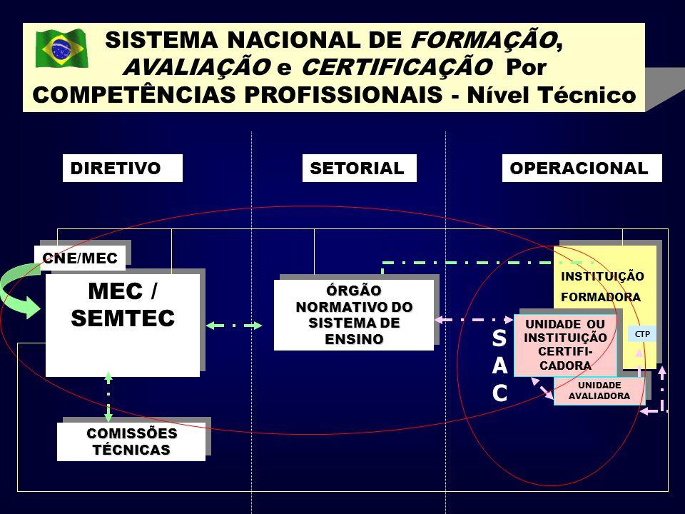 SISTEMA NACIONAL DE FORMAÇÃO, AVALIAÇÃO e CERTIFICAÇÃO Por COMPETÊNCIAS PROFISSIONAIS - Nível Técnico