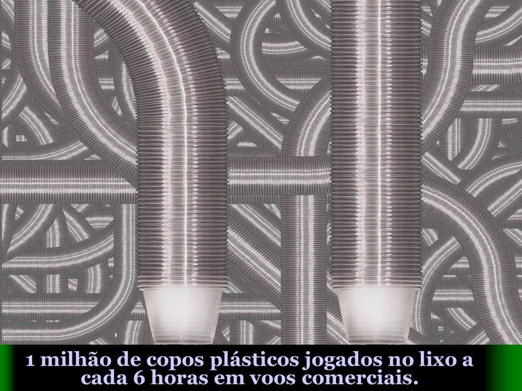 1 milhão de copos plásticos jogados no lixo a cada 6 horas em voos comerciais.