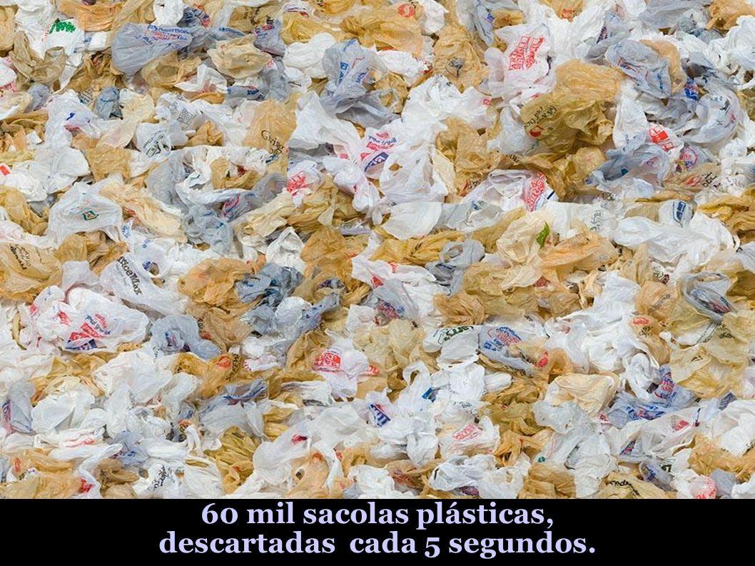 60 mil sacolas plásticas, descartadas cada 5 segundos.