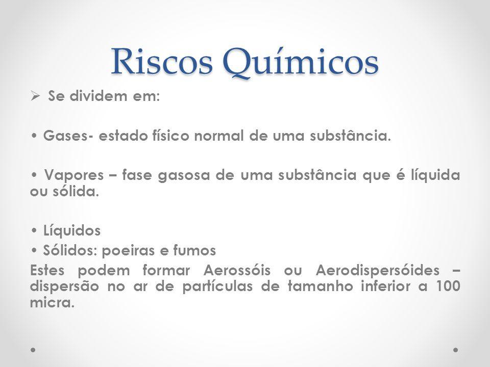 Riscos Químicos Se dividem em: