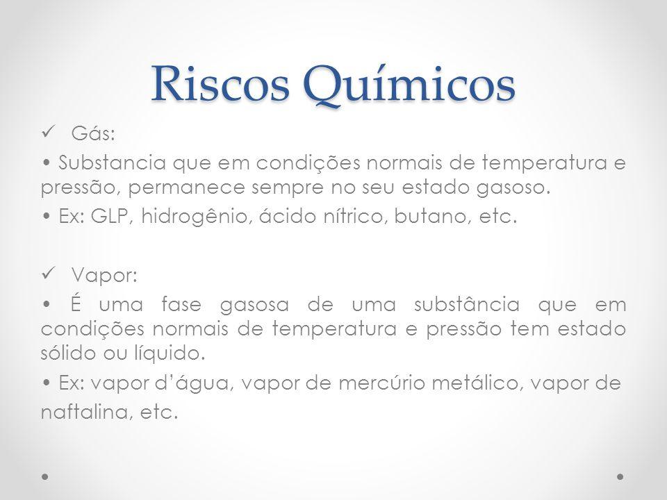 Riscos Químicos Gás: • Substancia que em condições normais de temperatura e pressão, permanece sempre no seu estado gasoso.