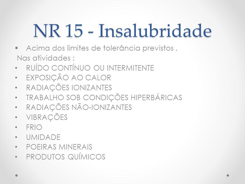 NR 15 - Insalubridade Acima dos limites de tolerância previstos ,
