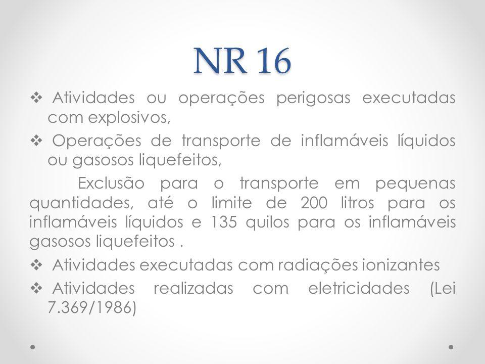 NR 16 Atividades ou operações perigosas executadas com explosivos,