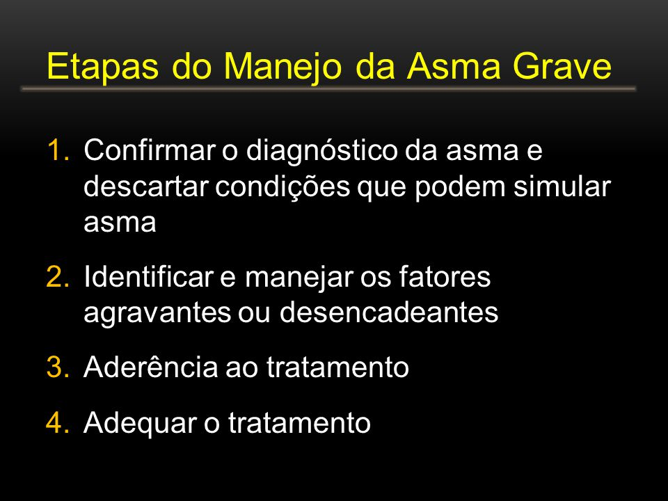 Etapas do Manejo da Asma Grave