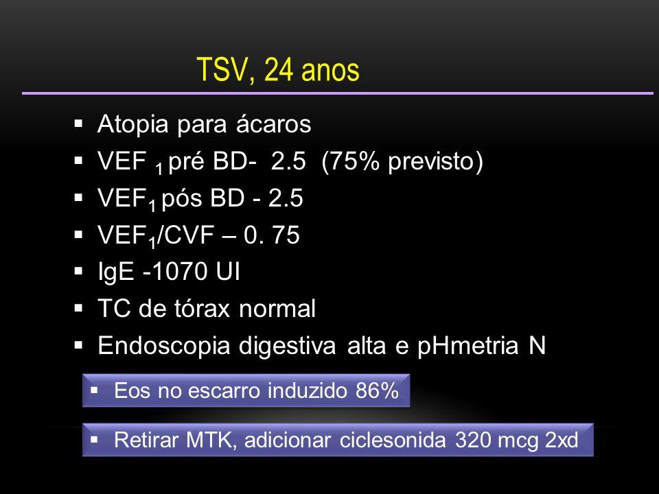 TSV, 24 anos Atopia para ácaros VEF 1 pré BD- 2.5 (75% previsto)