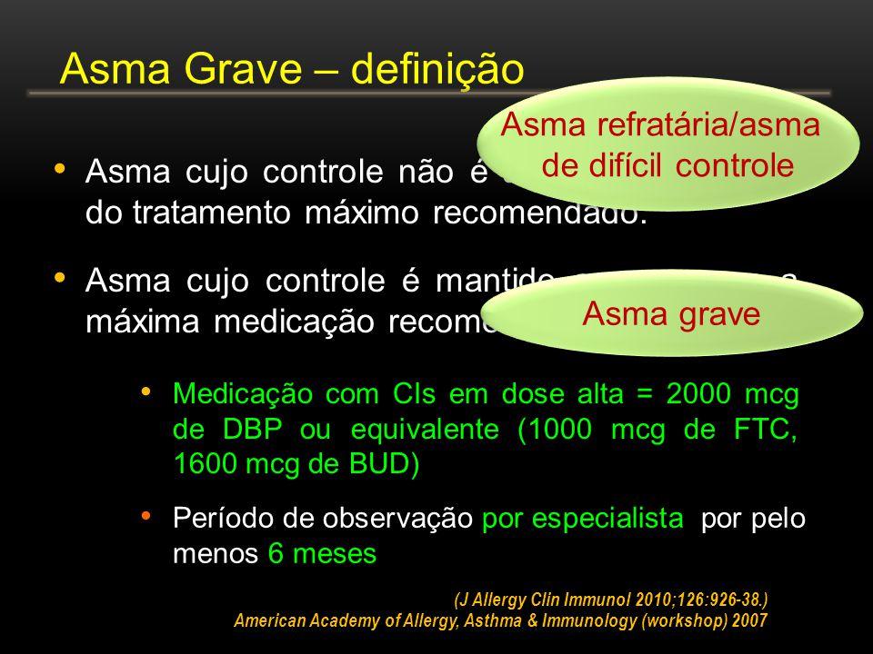 Asma Grave – definição Asma refratária/asma de difícil controle
