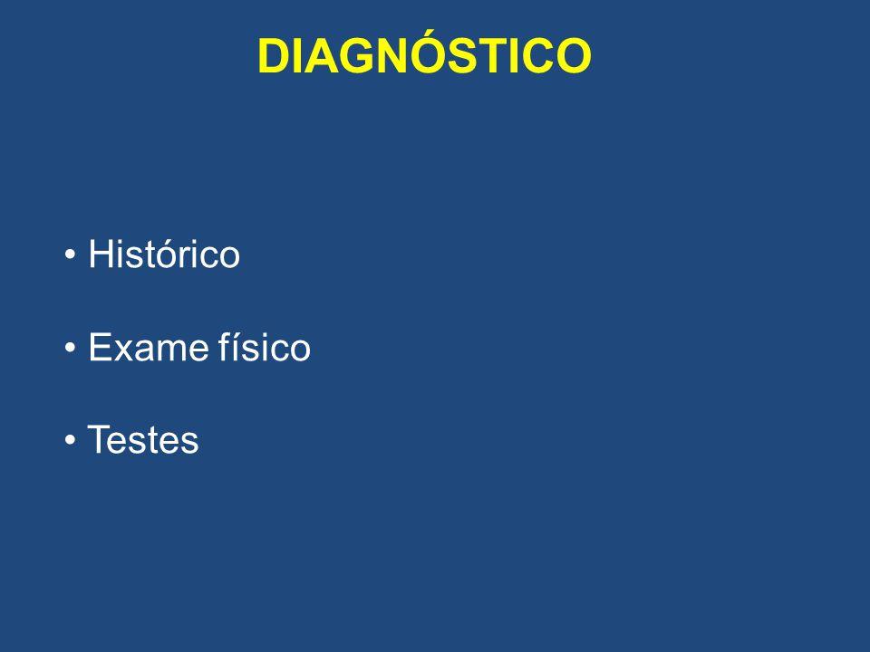 DIAGNÓSTICO Histórico Exame físico Testes