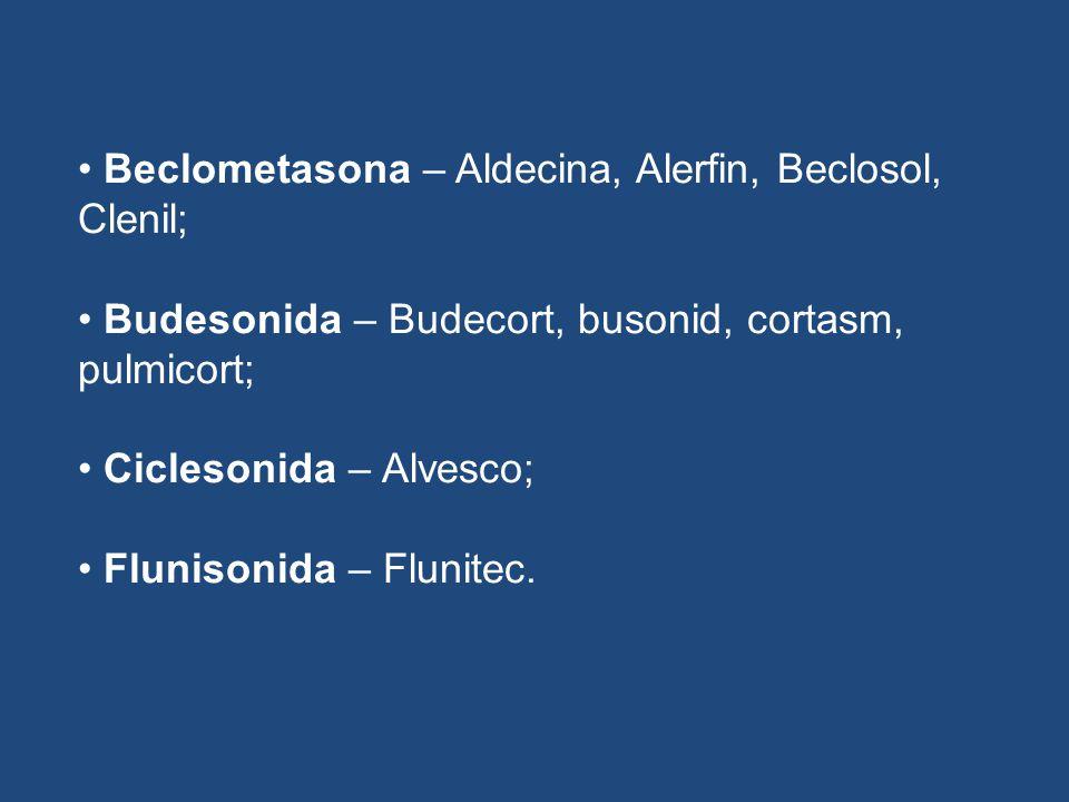 Beclometasona – Aldecina, Alerfin, Beclosol, Clenil;