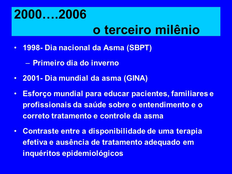 2000….2006 o terceiro milênio 1998- Dia nacional da Asma (SBPT)