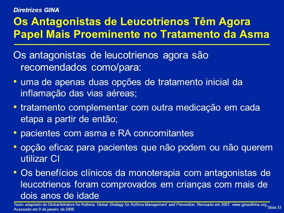 Diretrizes GINA Os Antagonistas de Leucotrienos Têm Agora Papel Mais Proeminente no Tratamento da Asma.