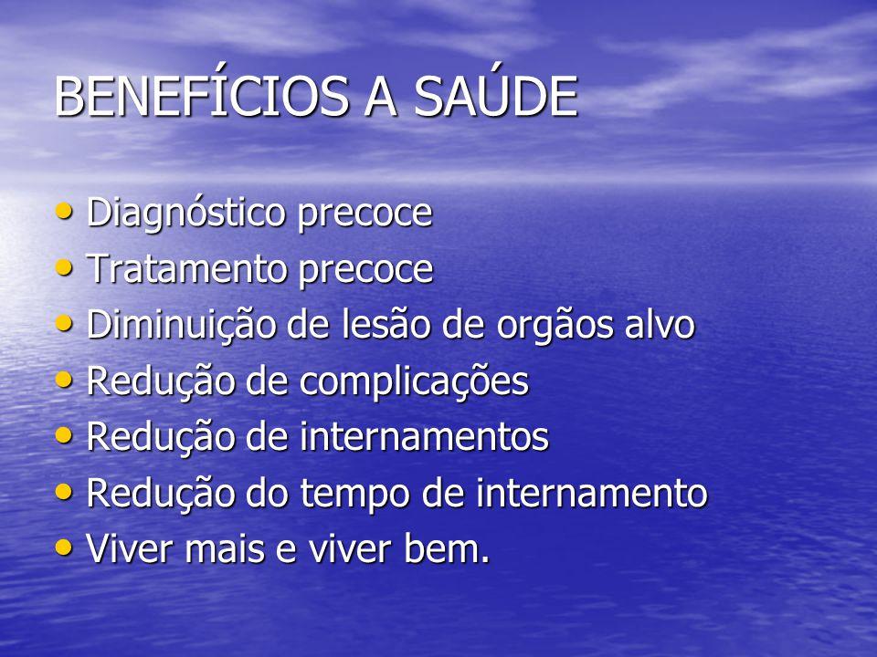 BENEFÍCIOS A SAÚDE Diagnóstico precoce Tratamento precoce