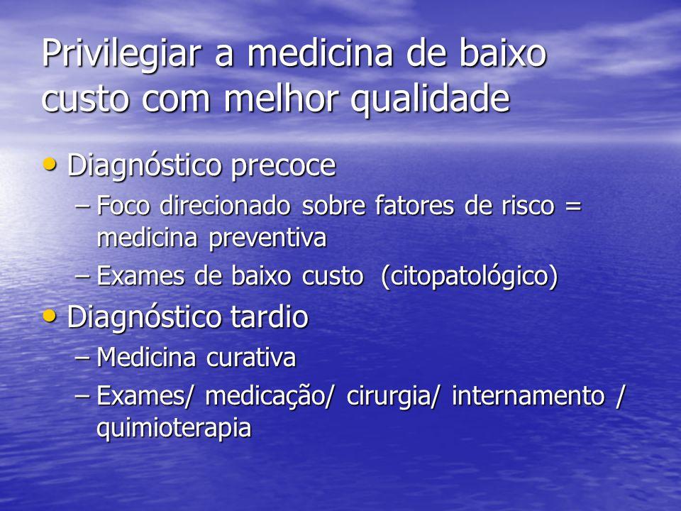 Privilegiar a medicina de baixo custo com melhor qualidade