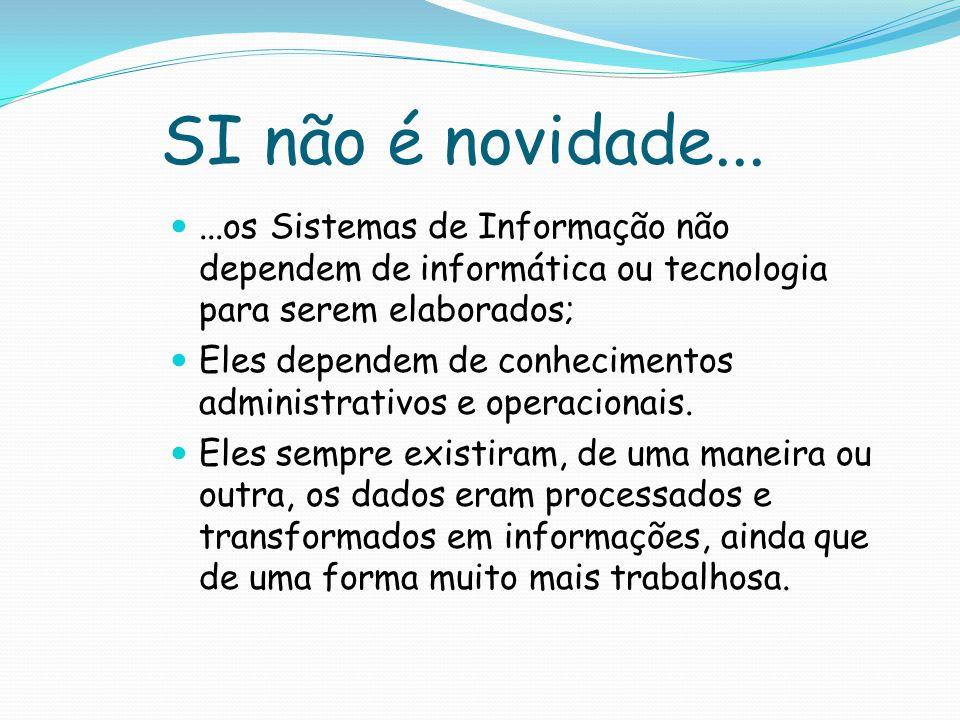 SI não é novidade... ...os Sistemas de Informação não dependem de informática ou tecnologia para serem elaborados;