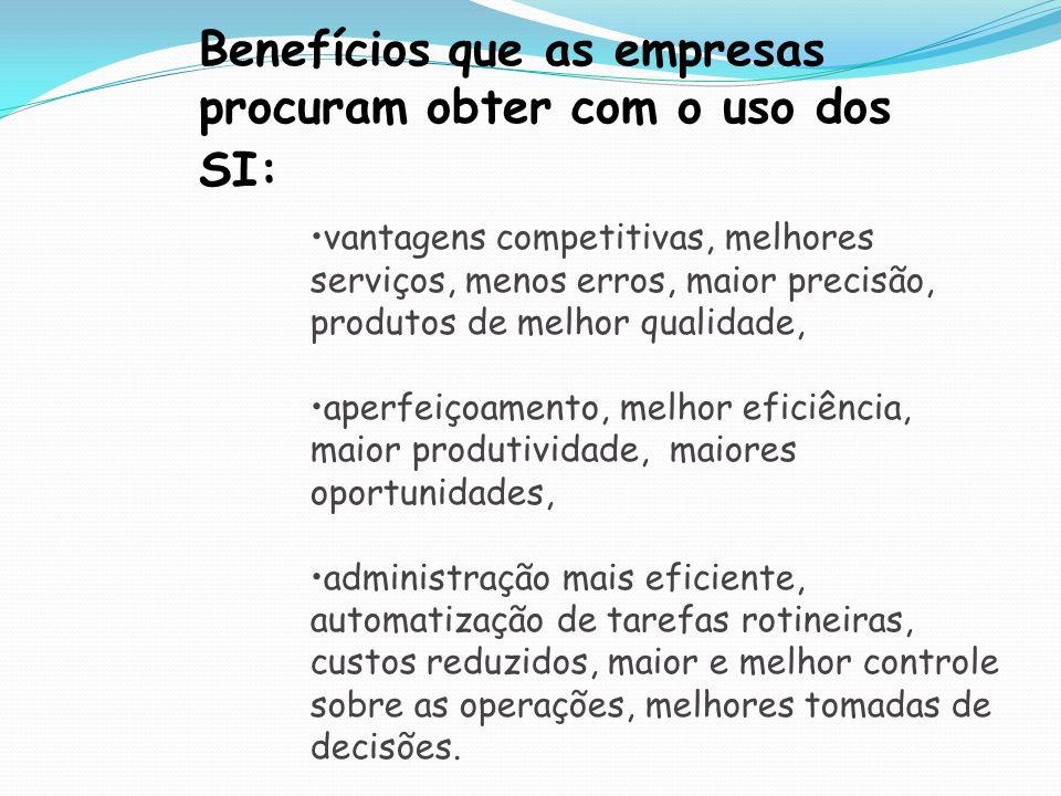 Benefícios que as empresas procuram obter com o uso dos SI:
