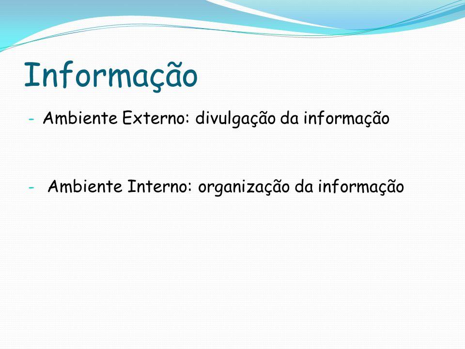 Informação Ambiente Externo: divulgação da informação