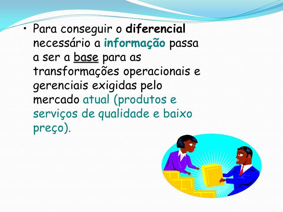 Para conseguir o diferencial necessário a informação passa a ser a base para as transformações operacionais e gerenciais exigidas pelo mercado atual (produtos e serviços de qualidade e baixo preço).
