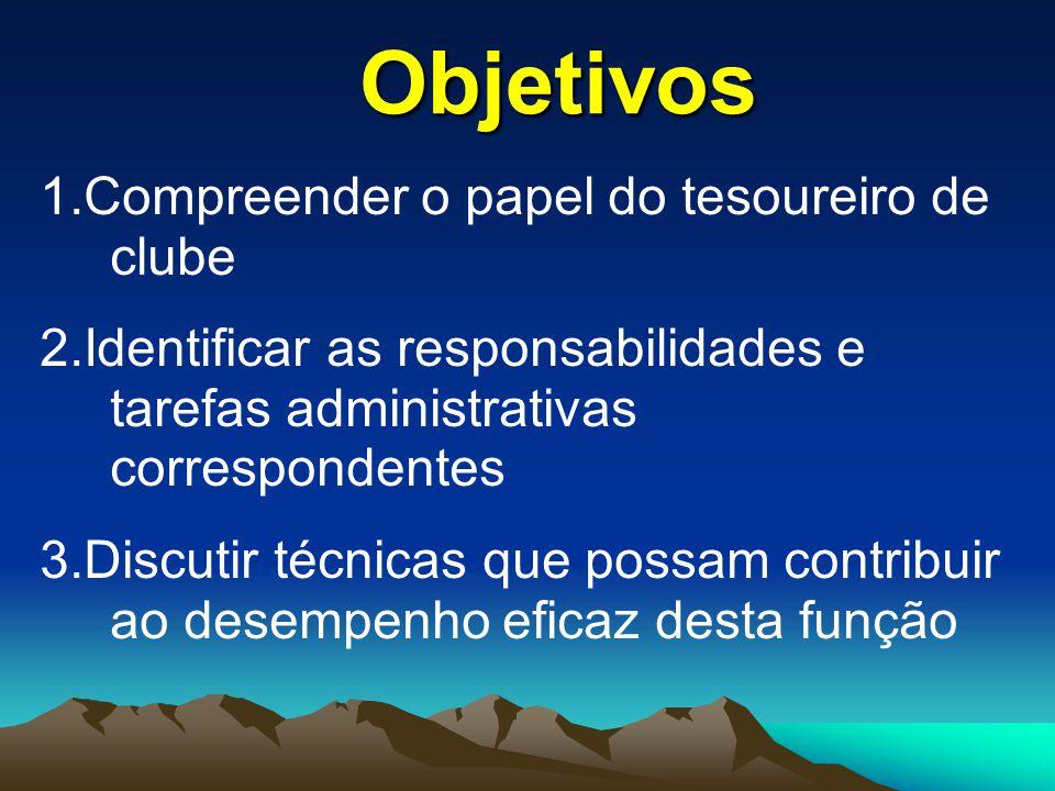 Objetivos 1.Compreender o papel do tesoureiro de clube