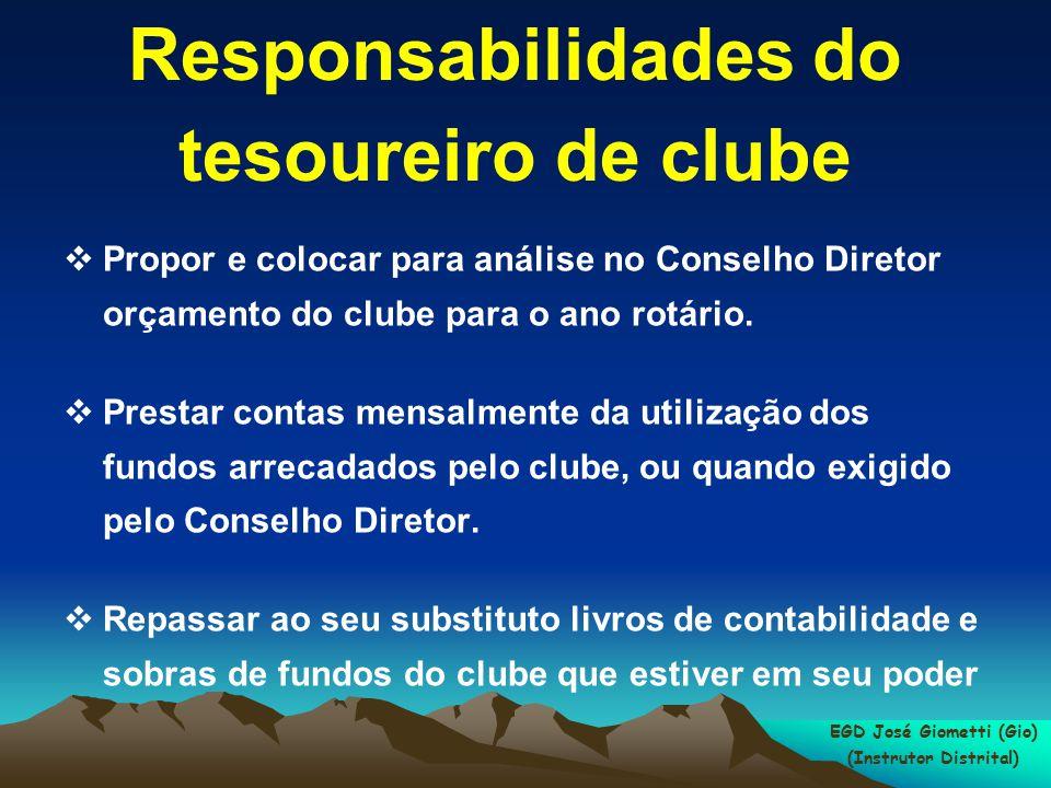 Responsabilidades do tesoureiro de clube