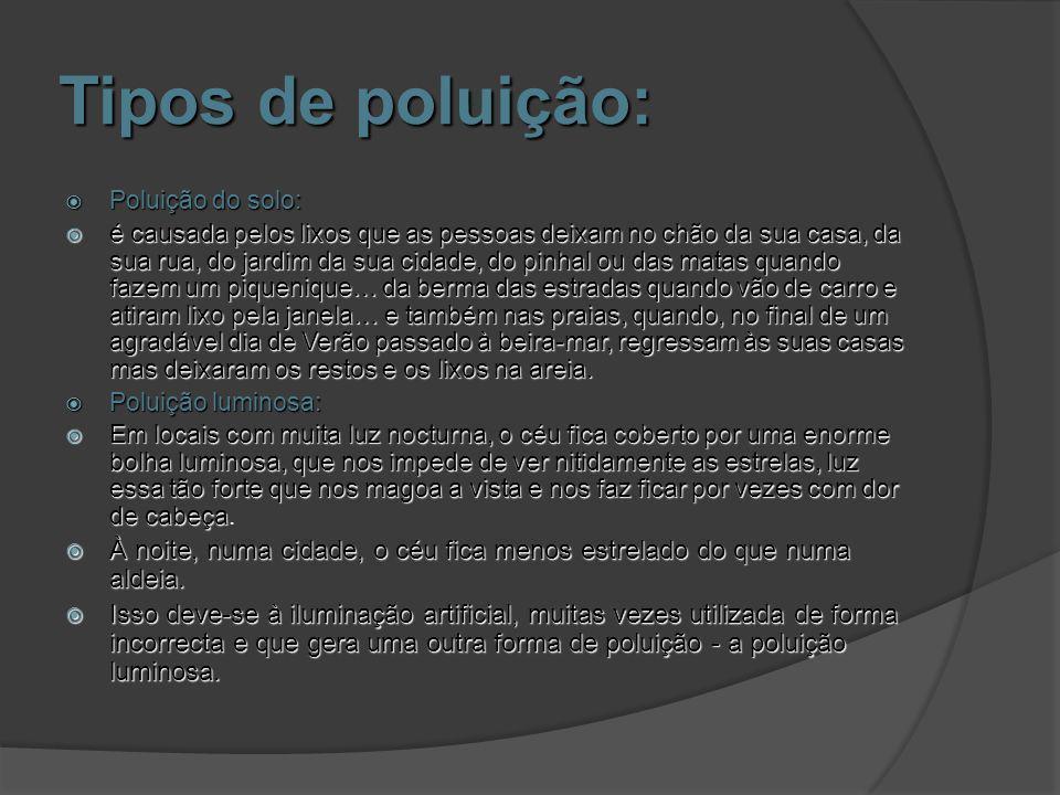 Tipos de poluição: Poluição do solo: