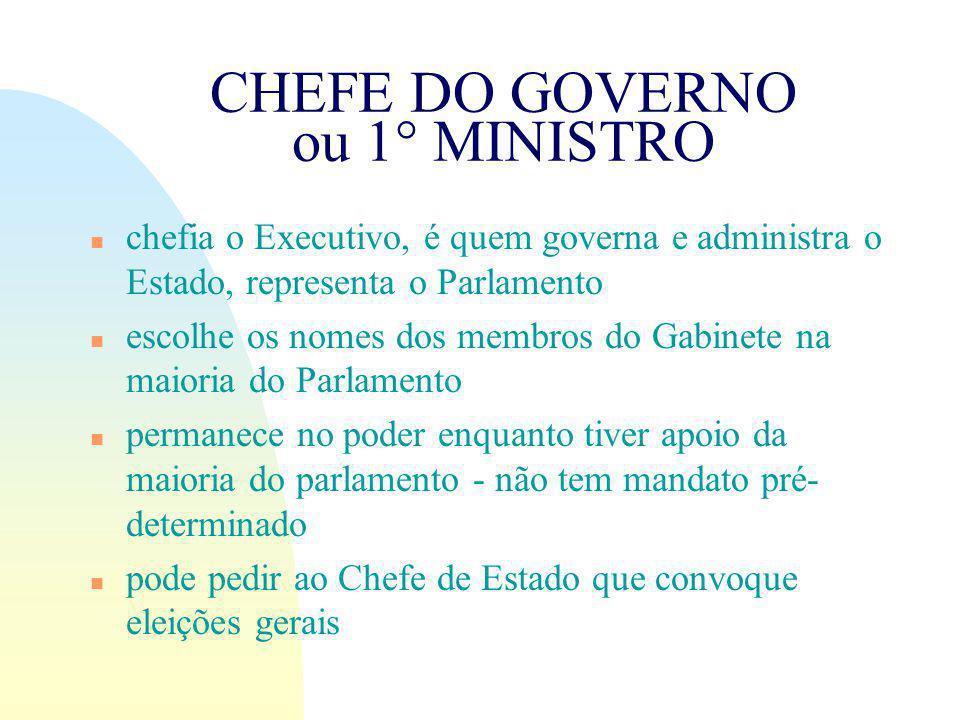 CHEFE DO GOVERNO ou 1° MINISTRO