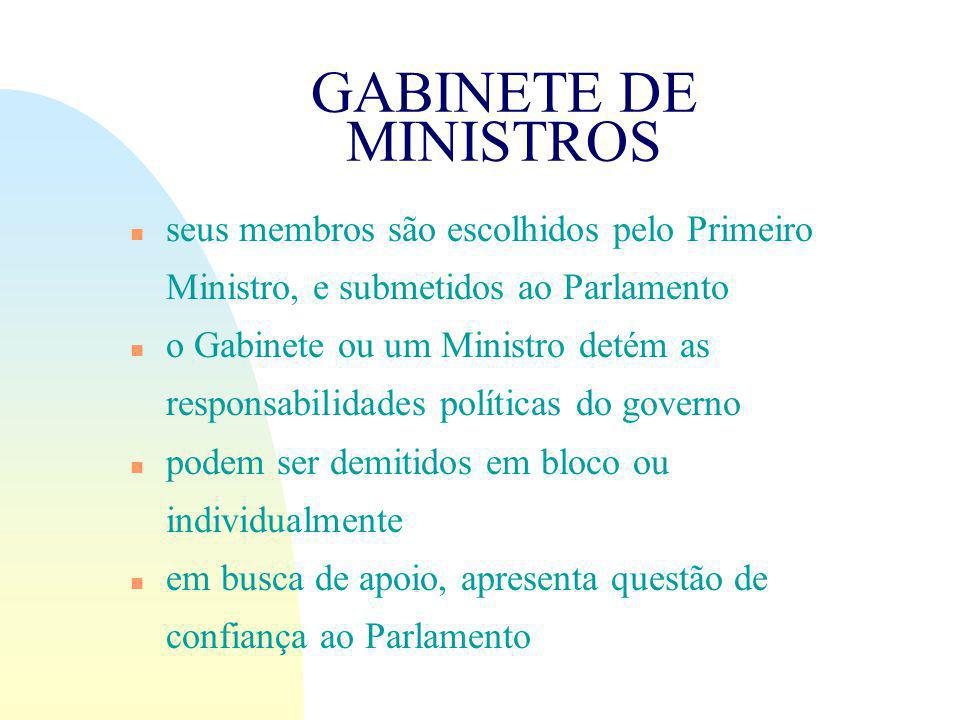 GABINETE DE MINISTROS seus membros são escolhidos pelo Primeiro Ministro, e submetidos ao Parlamento.