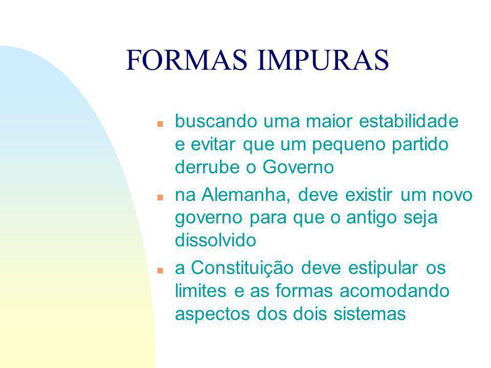 FORMAS IMPURAS buscando uma maior estabilidade e evitar que um pequeno partido derrube o Governo.