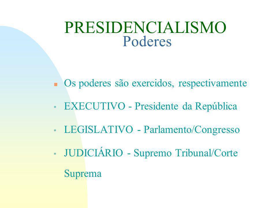 PRESIDENCIALISMO Poderes