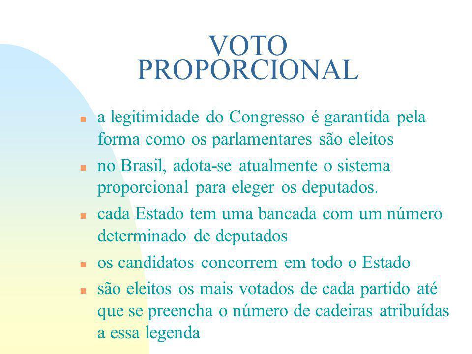VOTO PROPORCIONAL a legitimidade do Congresso é garantida pela forma como os parlamentares são eleitos.
