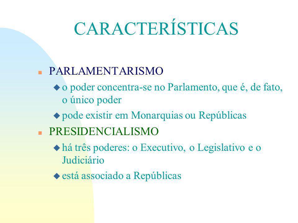 CARACTERÍSTICAS l PARLAMENTARISMO PRESIDENCIALISMO