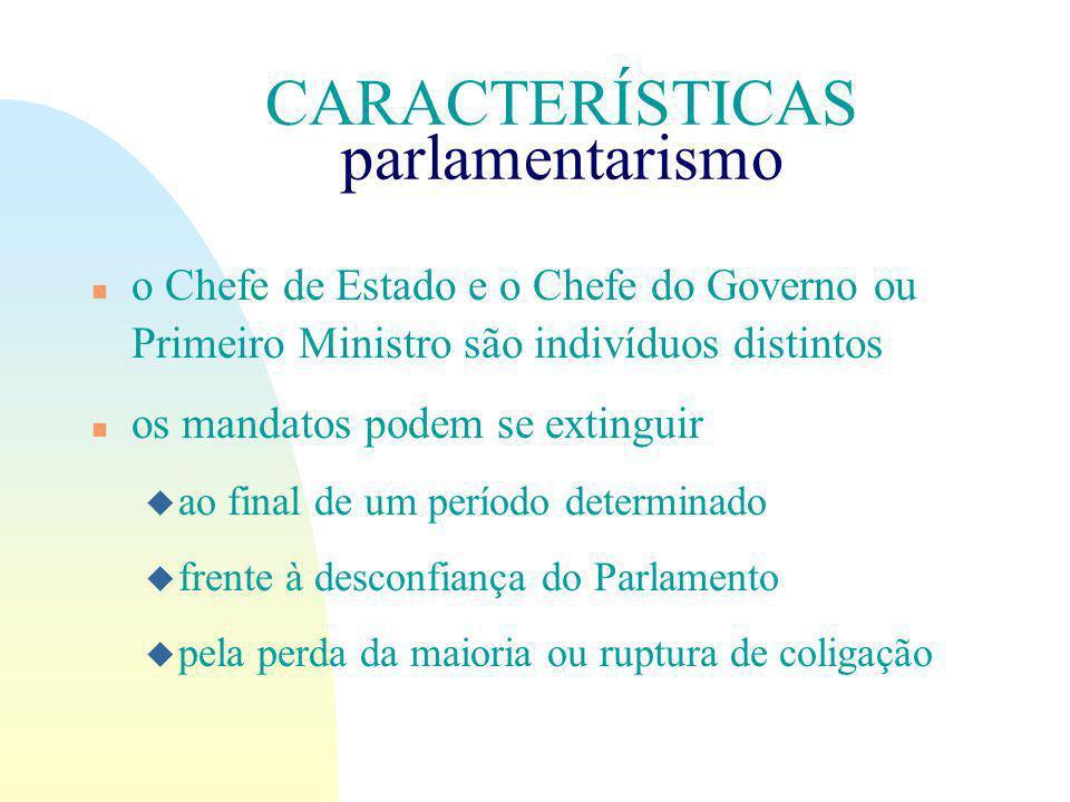 CARACTERÍSTICAS parlamentarismo