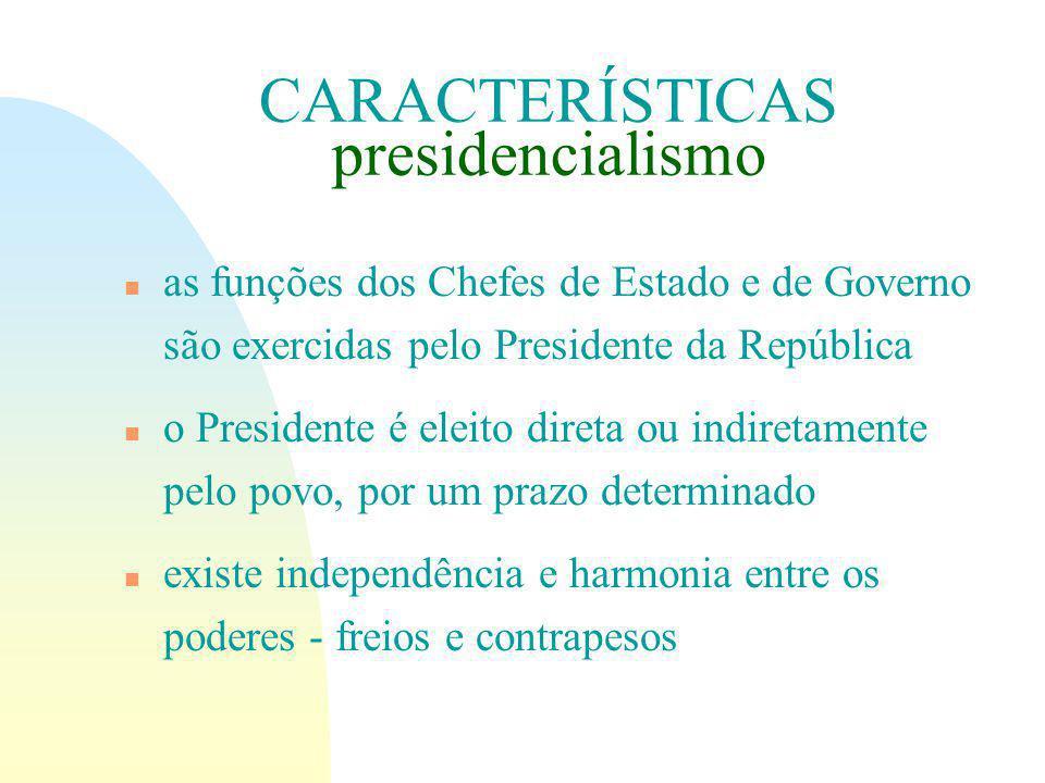 CARACTERÍSTICAS presidencialismo