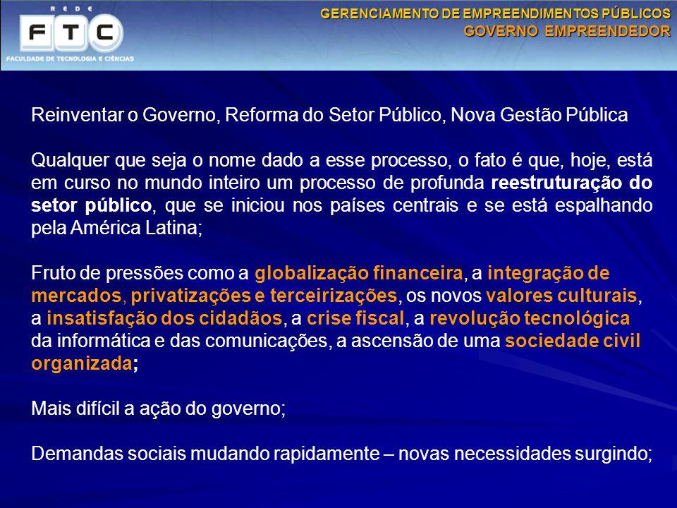Reinventar o Governo, Reforma do Setor Público, Nova Gestão Pública