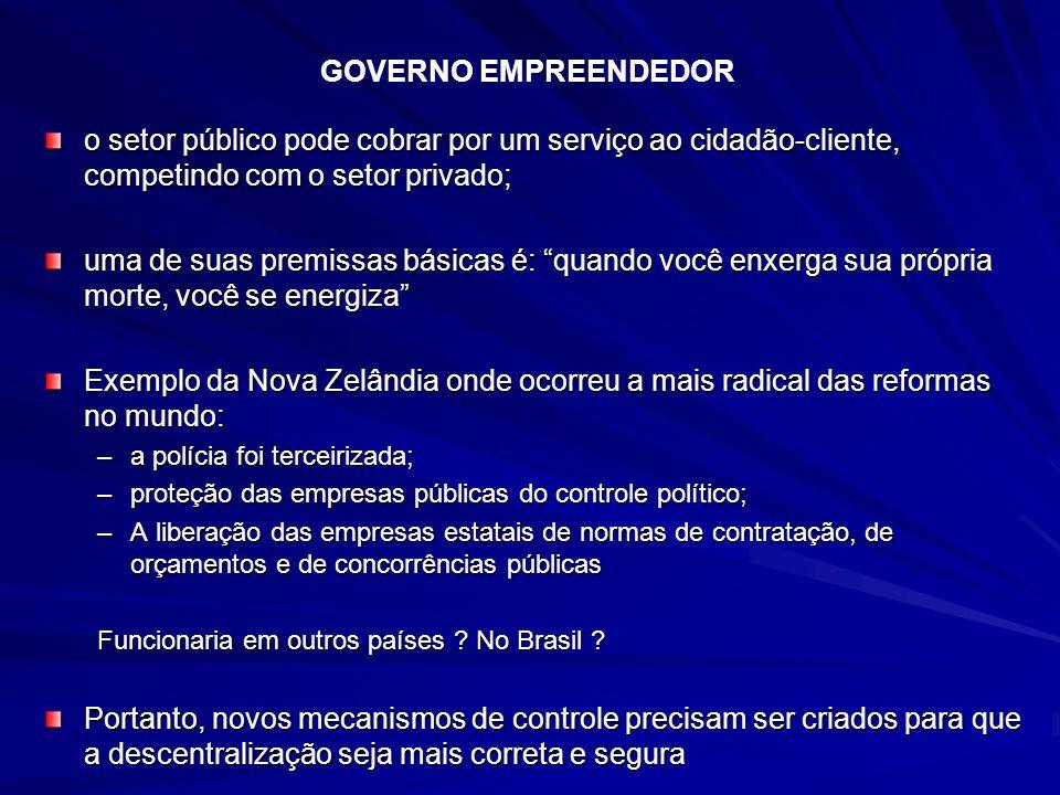 GOVERNO EMPREENDEDOR o setor público pode cobrar por um serviço ao cidadão-cliente, competindo com o setor privado;