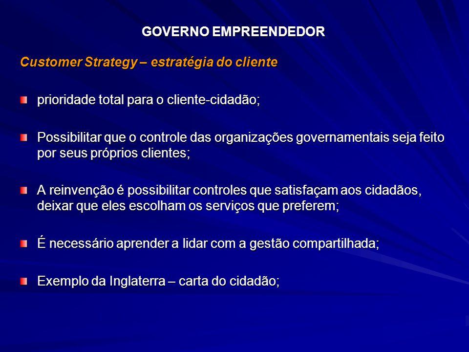 GOVERNO EMPREENDEDOR Customer Strategy – estratégia do cliente. prioridade total para o cliente-cidadão;