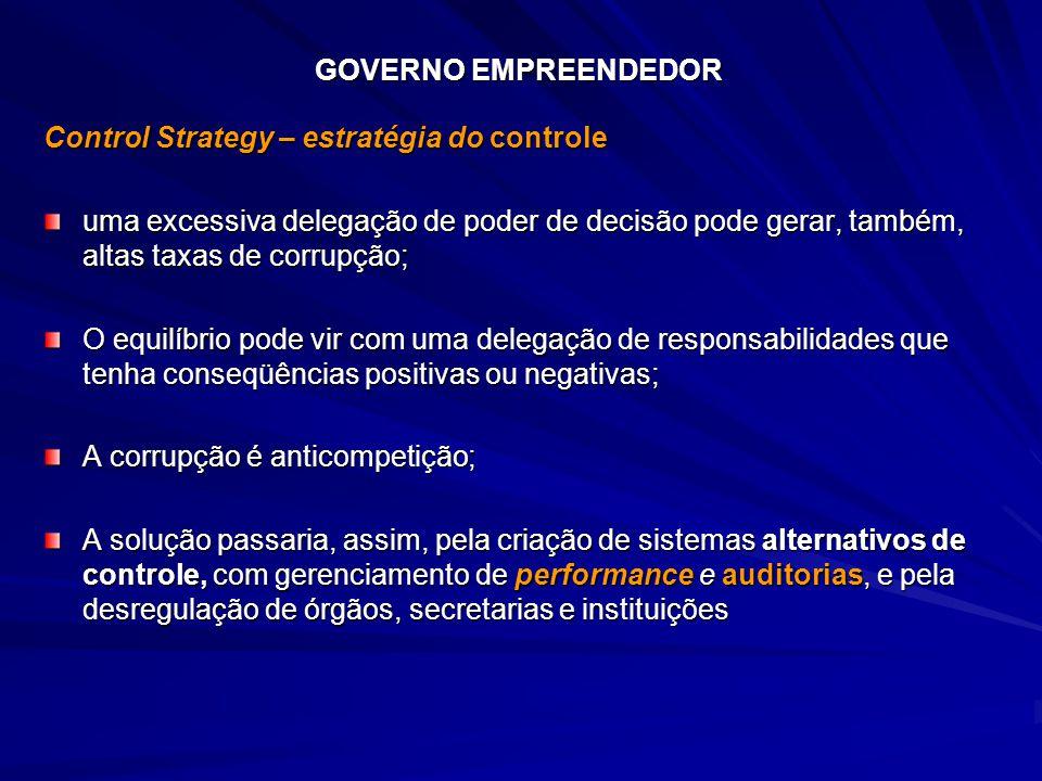 GOVERNO EMPREENDEDOR Control Strategy – estratégia do controle.