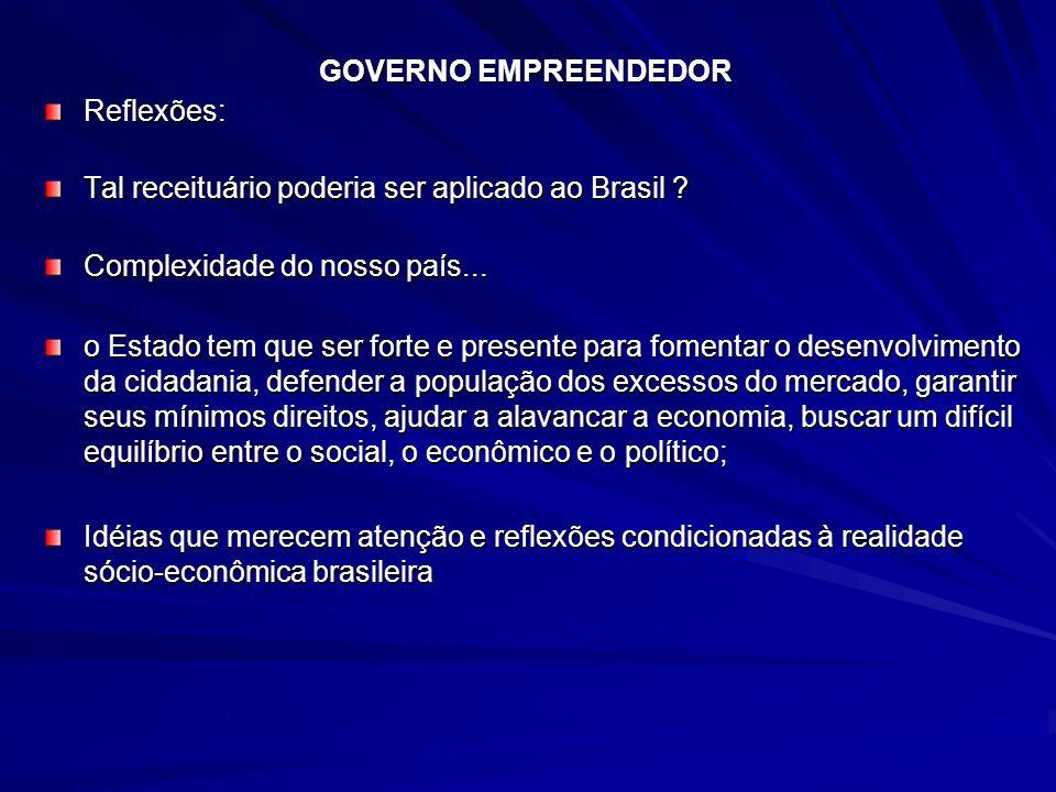 GOVERNO EMPREENDEDOR Reflexões: Tal receituário poderia ser aplicado ao Brasil Complexidade do nosso país...