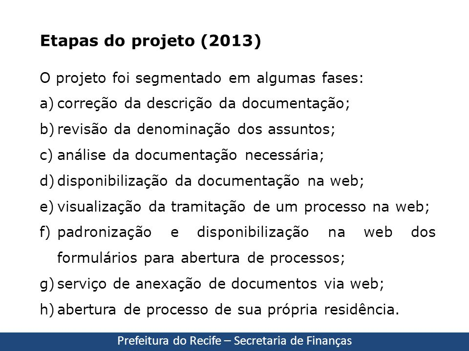 Prefeitura do Recife – Secretaria de Finanças