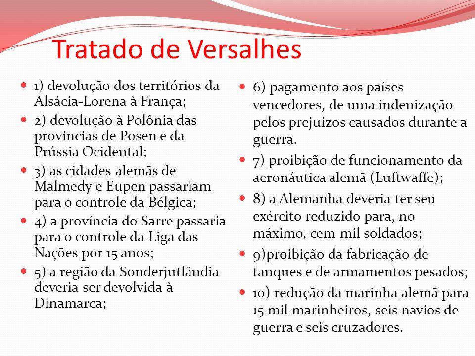 Tratado de Versalhes 1) devolução dos territórios da Alsácia-Lorena à França; 2) devolução à Polônia das províncias de Posen e da Prússia Ocidental;