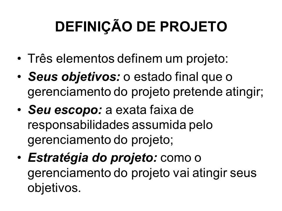 DEFINIÇÃO DE PROJETO Três elementos definem um projeto: