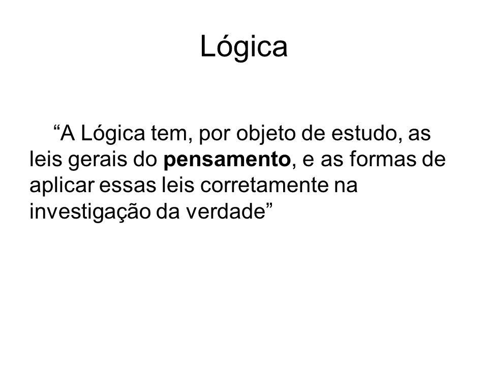 Lógica A Lógica tem, por objeto de estudo, as leis gerais do pensamento, e as formas de aplicar essas leis corretamente na investigação da verdade