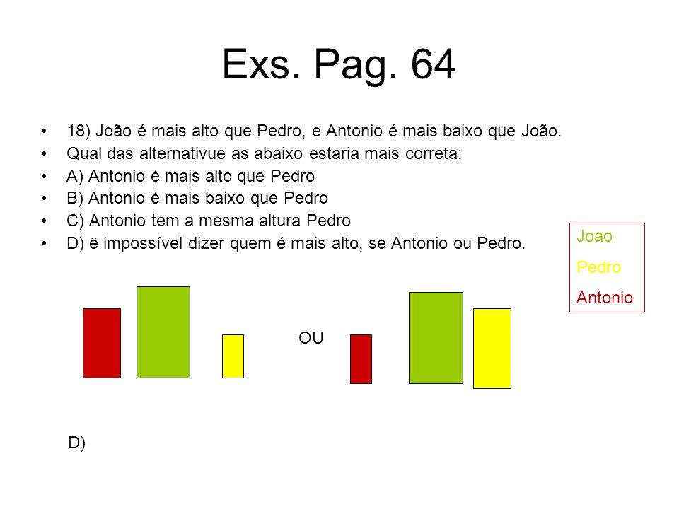Exs. Pag. 64 18) João é mais alto que Pedro, e Antonio é mais baixo que João. Qual das alternativue as abaixo estaria mais correta: