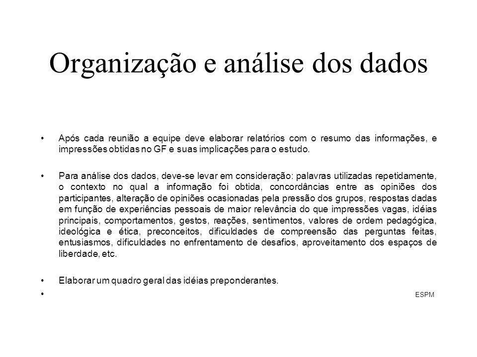 Organização e análise dos dados