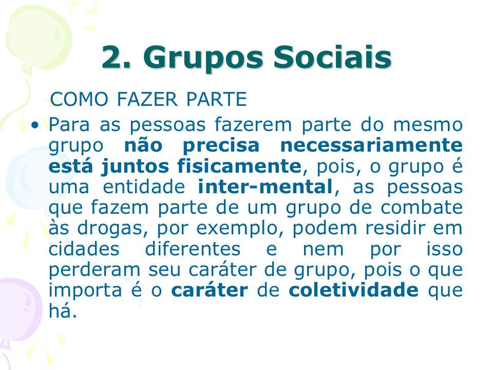 2. Grupos Sociais COMO FAZER PARTE