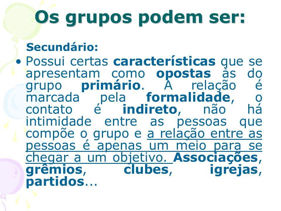 Os grupos podem ser: Secundário: