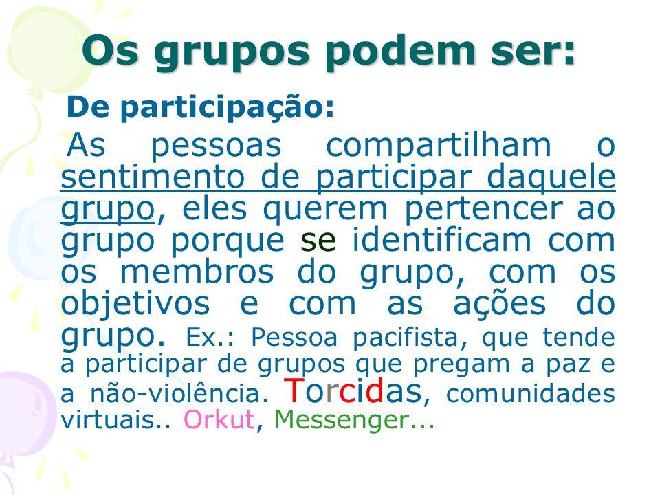Os grupos podem ser: De participação: