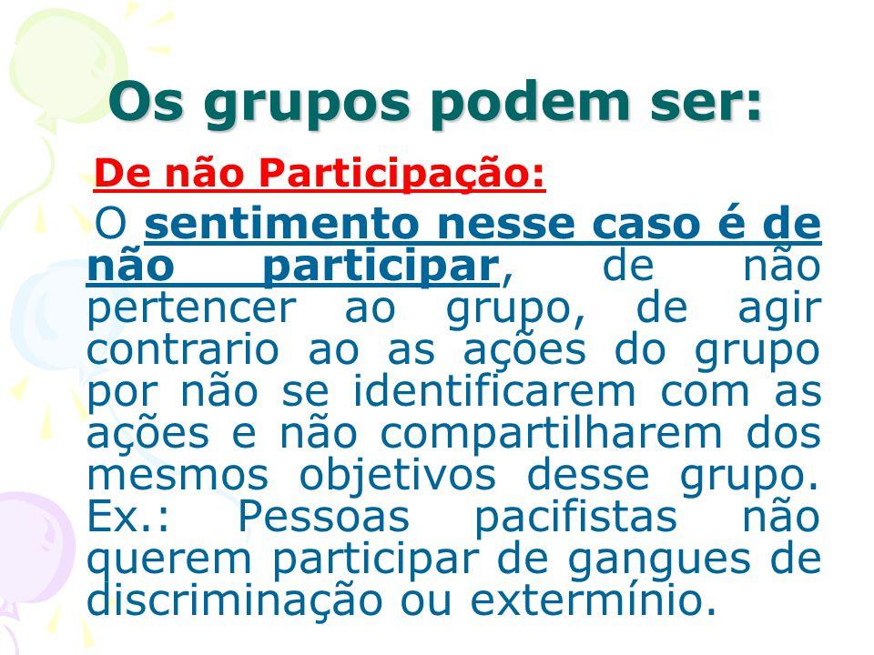 Os grupos podem ser: De não Participação: