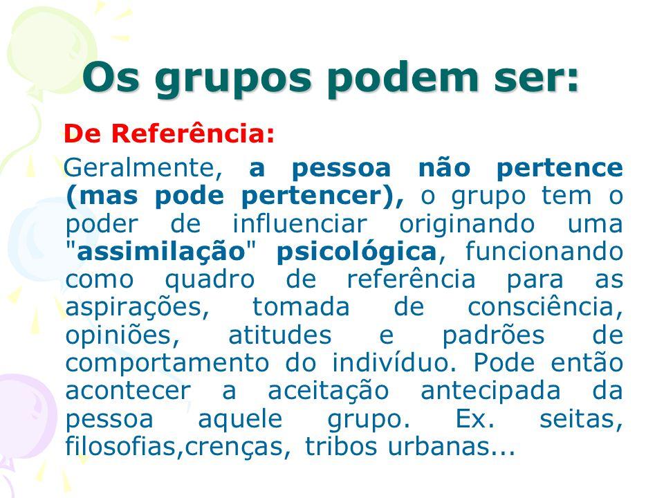 Os grupos podem ser: De Referência: