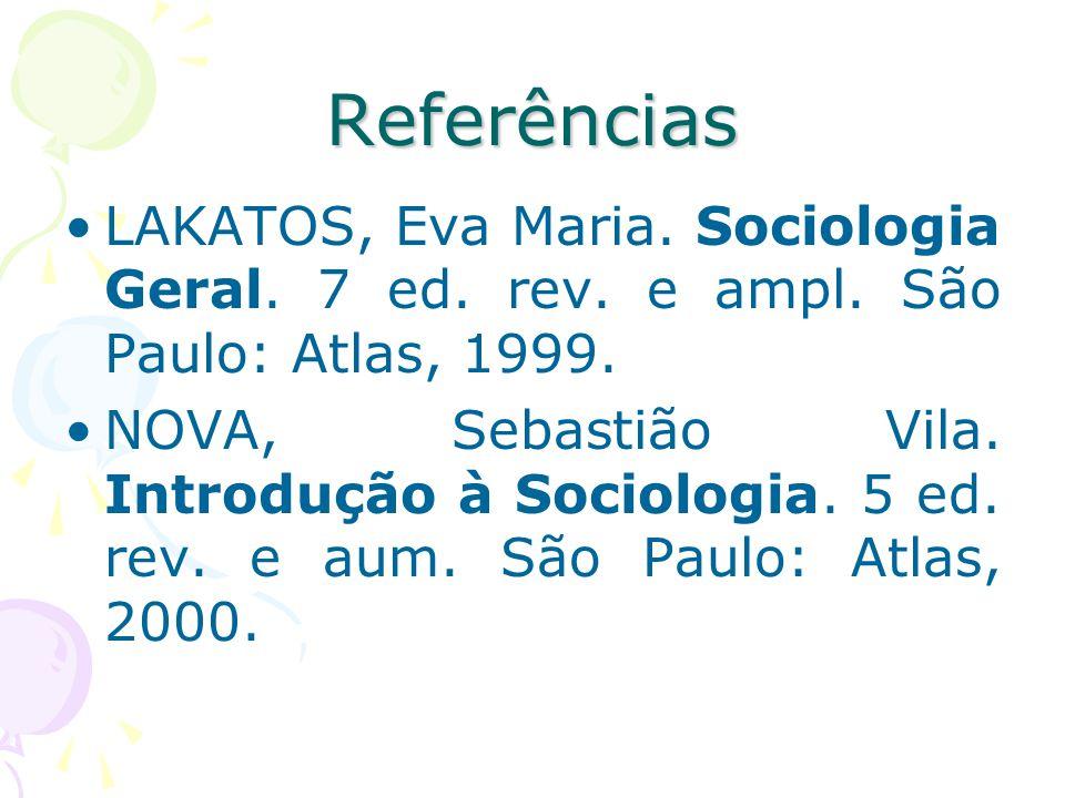 Referências LAKATOS, Eva Maria. Sociologia Geral. 7 ed. rev. e ampl. São Paulo: Atlas, 1999.